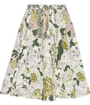 Flared Foral-print Cotton, Silk And Linen-blend Skirt