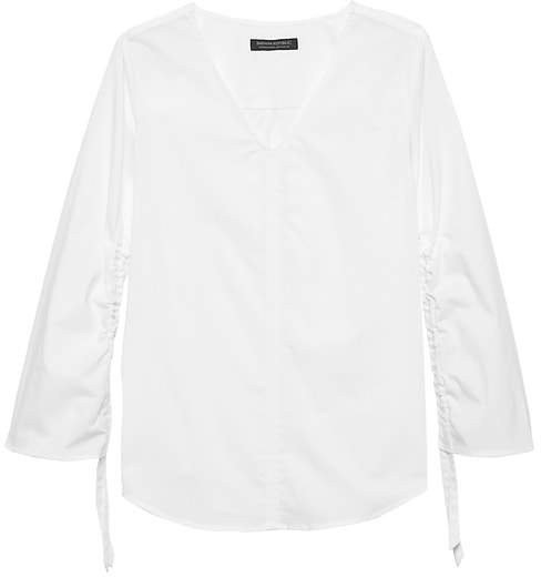JAPAN EXCLUSIVE Poplin Ruched-Sleeve Top