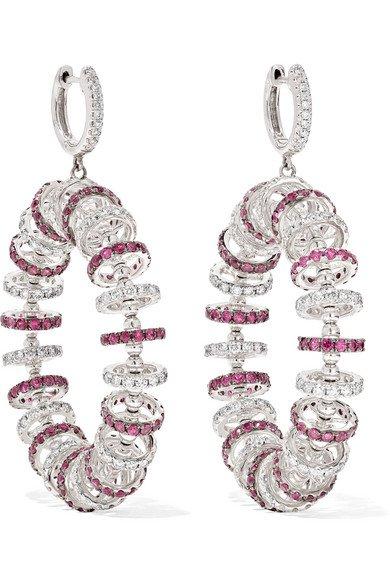 Ofira | 18-karat white gold, ruby and diamond earrings | NET-A-PORTER.COM