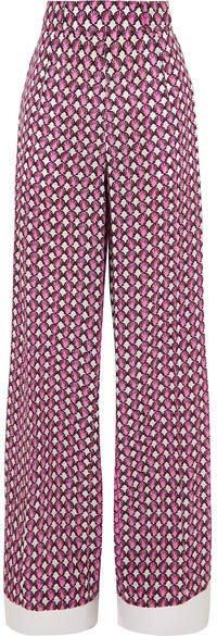Printed Silk Crepe De Chine Wide-leg Pants - Pink