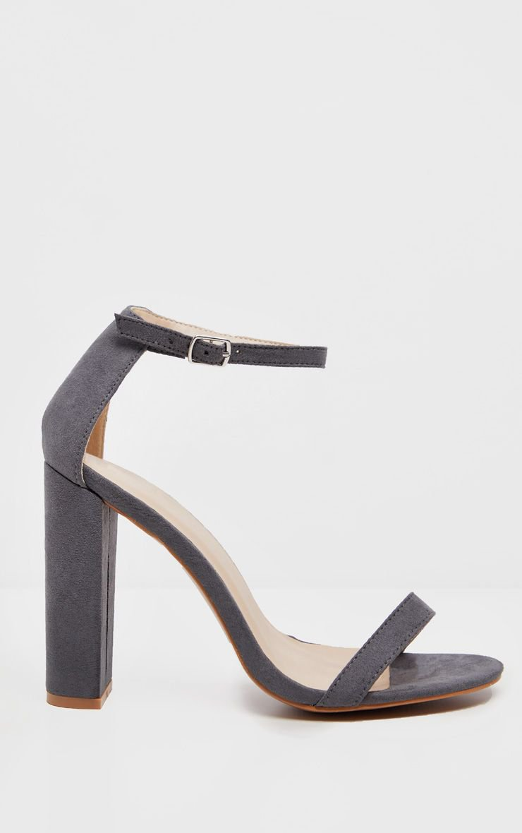 Dark Grey May Faux Suede Block Heeled Sandals   PrettyLittleThing