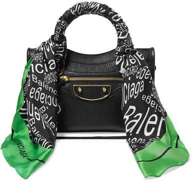 Classic City Aj Printed Silk-twill-trimmed Textured-leather Tote - Black