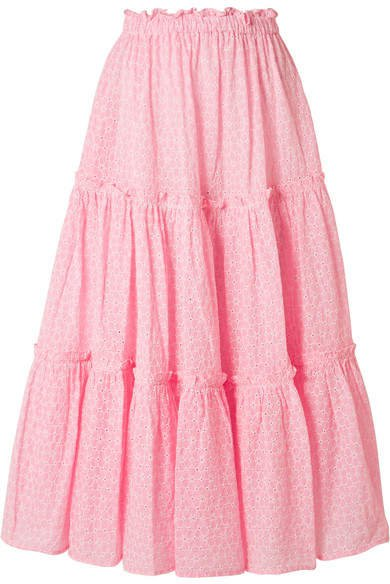 Ruffled Broderie Anglaise Cotton Midi Skirt - Baby pink