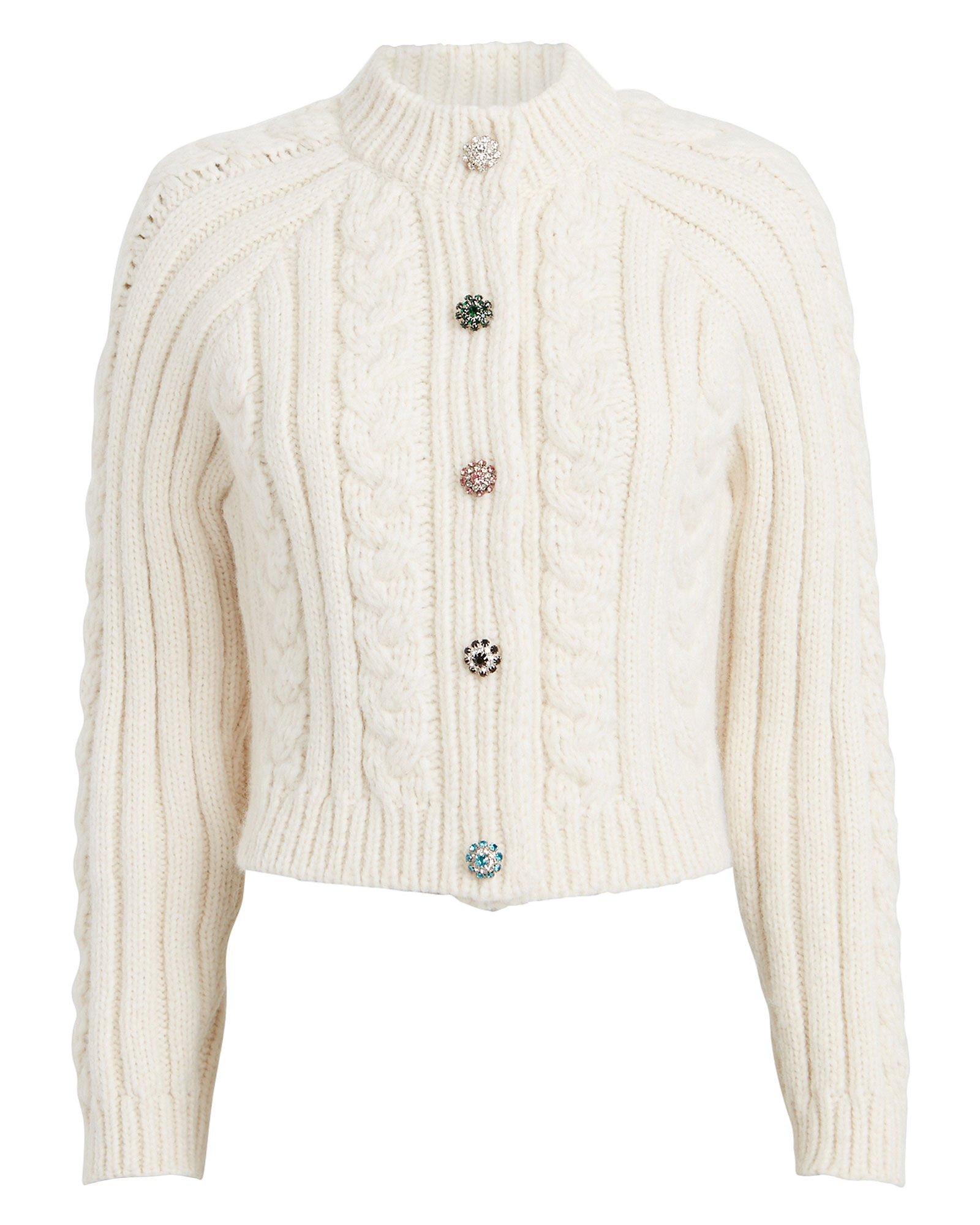 GANNI | Diamanté Cable Knit Cropped Cardigan | INTERMIX®