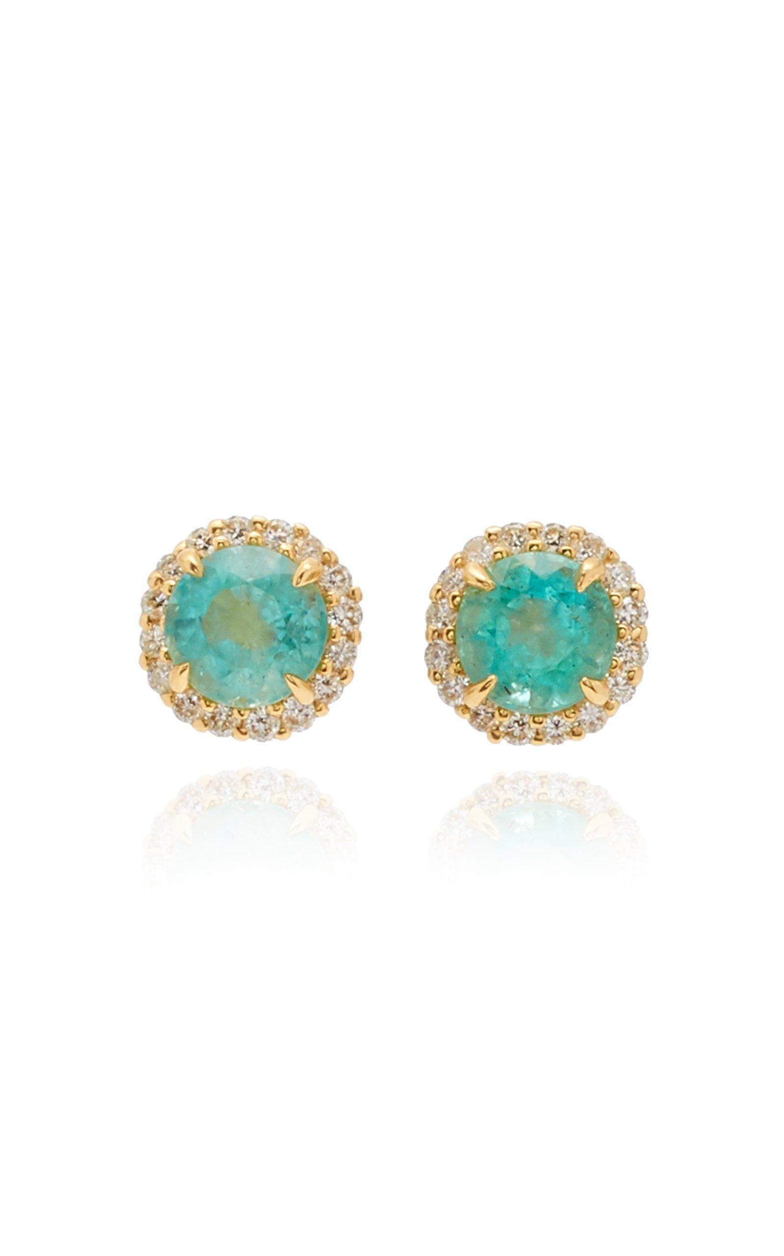 Jamie Wolf 18K Yellow Gold Diamond Edge Emerald Earring