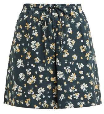 Floral Print Wide Leg Cotton Shorts - Womens - Green Multi