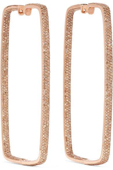 Ofira | Box 18-karat rose gold diamond hoop earrings | NET-A-PORTER.COM