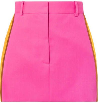 Striped Wool-twill Mini Skirt - Bright pink