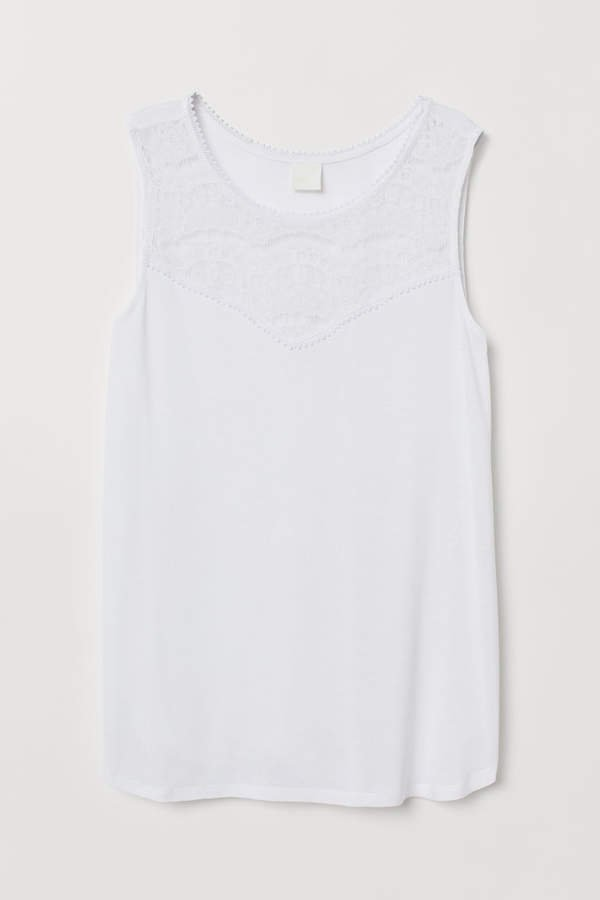 Sleeveless Jersey Top - White