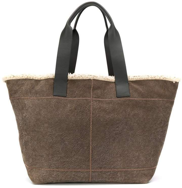 shearling lined tote bag
