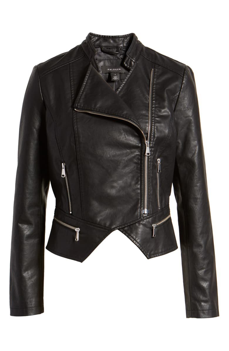 Halogen® Peplum Faux Leather Moto Jacket black