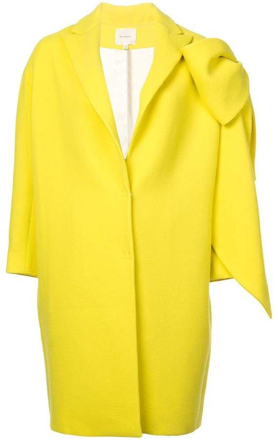 bow-embellished cocoon coat