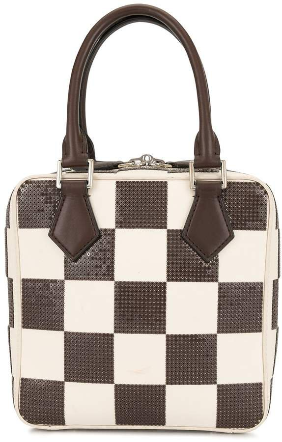 Pre-Owned sequin checked square tote