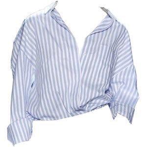 Blue & White Striped Collar Shirt