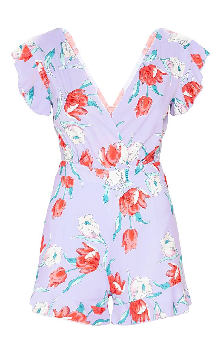 Lilac Floral Print Tie Back Playsuit   PrettyLittleThing