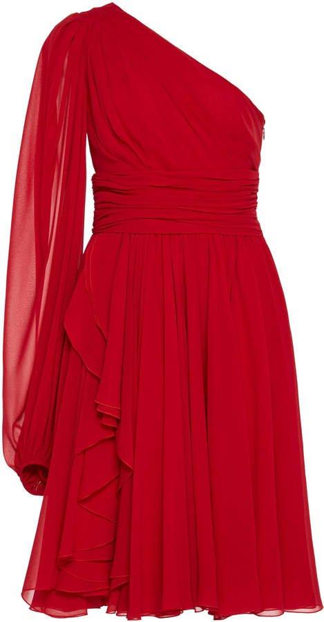 One-Shoulder Silk-Chiffon Dress