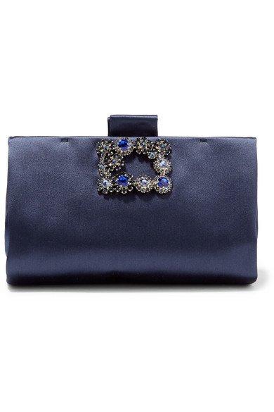 Roger Vivier   Crystal-embellished satin clutch   NET-A-PORTER.COM