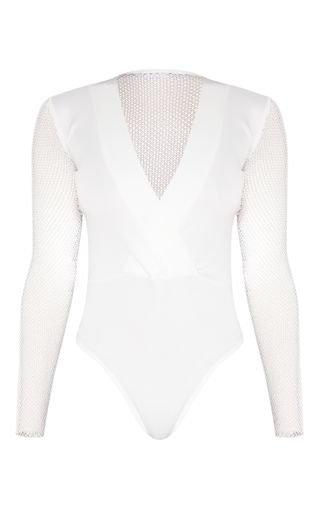 Cream Long Sleeve Fishnet Plunge Bodysuit   PrettyLittleThing