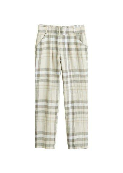 MANGO Check linen trousers