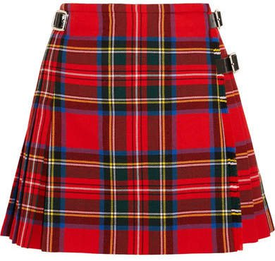 Dna Glossed Leather-trimmed Tartan Wool Mini Skirt - Red