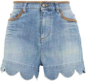 Scalloped Distressed Denim Shorts