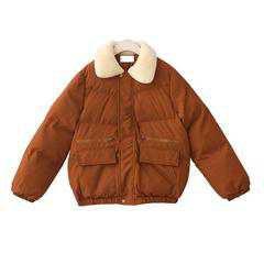 itGirl Shop | PUFF PADDED FAUX FLUFFY COLLAR ZIPPER WARM OUTWEAR COAT JACKET