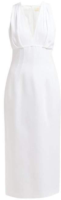 Pleated Crepe Midi Dress - Womens - White