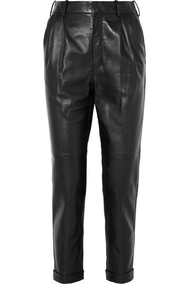 Saint Laurent | Leather straight-leg pants | NET-A-PORTER.COM