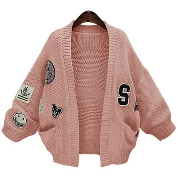 Pink Patch Sequin Detail Open Front Long Sleeve Cardigan