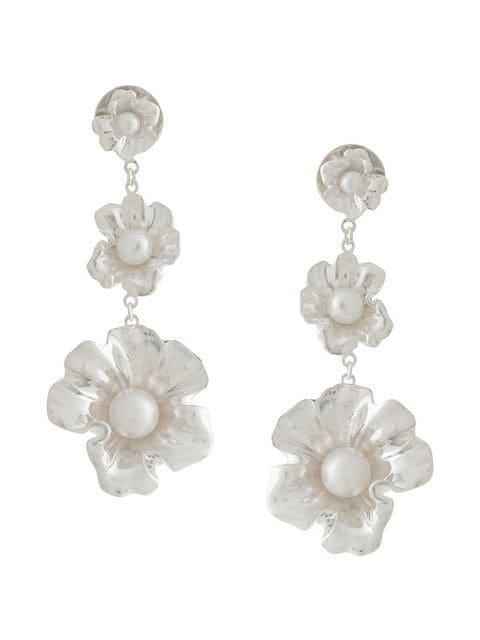 Meadowlark floral pearl drop earrings