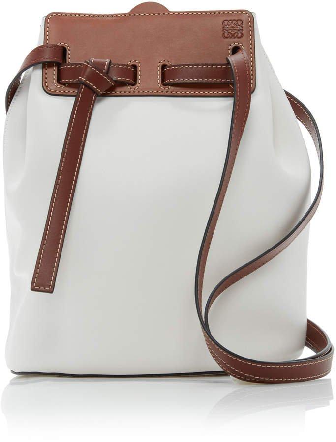 Loewe Lazo Two-Tone Bucket Leather Shoulder Bag