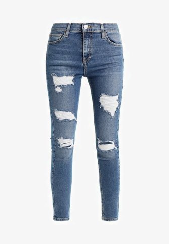Topshop SUPER RIP JAMIE - Jeans Skinny Fit - blue denim, blue - Zalando.dk
