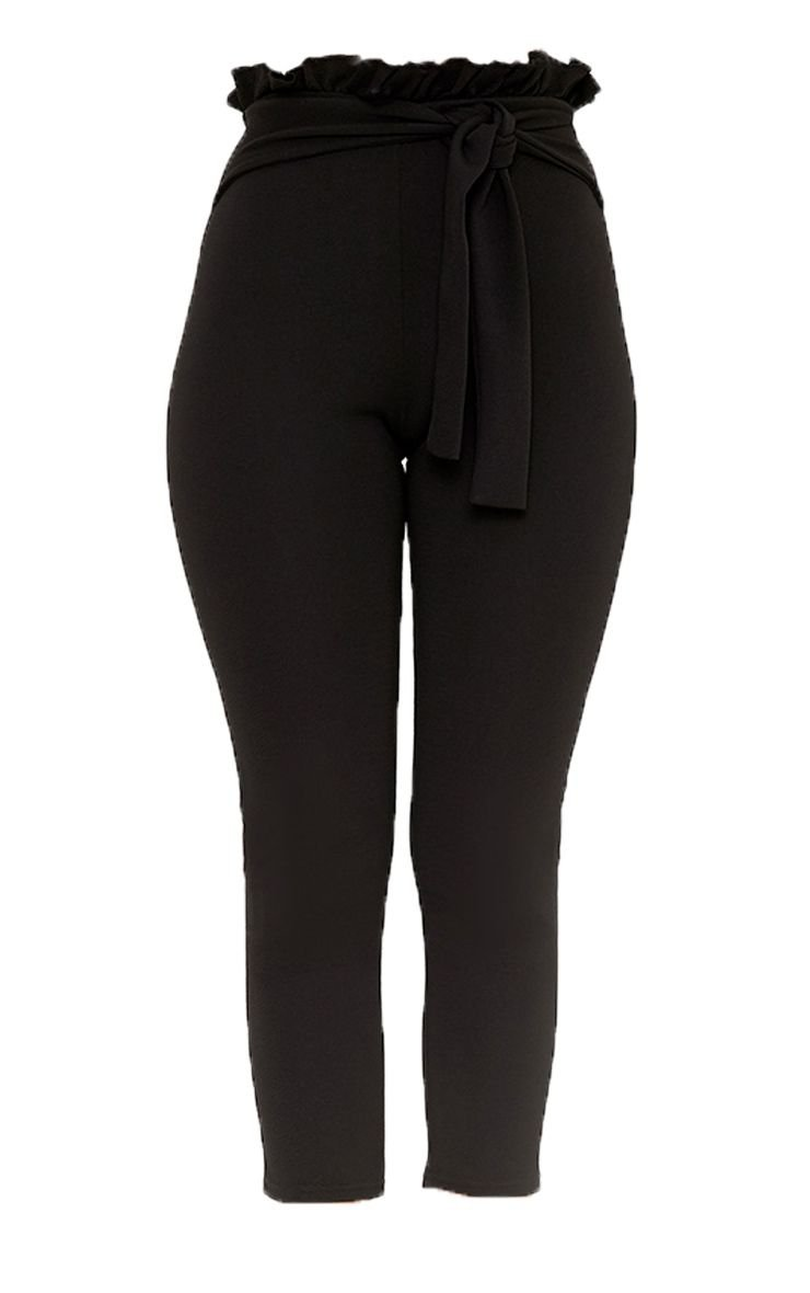 Perlita Black Paperbag Skinny Trousers   PrettyLittleThing USA
