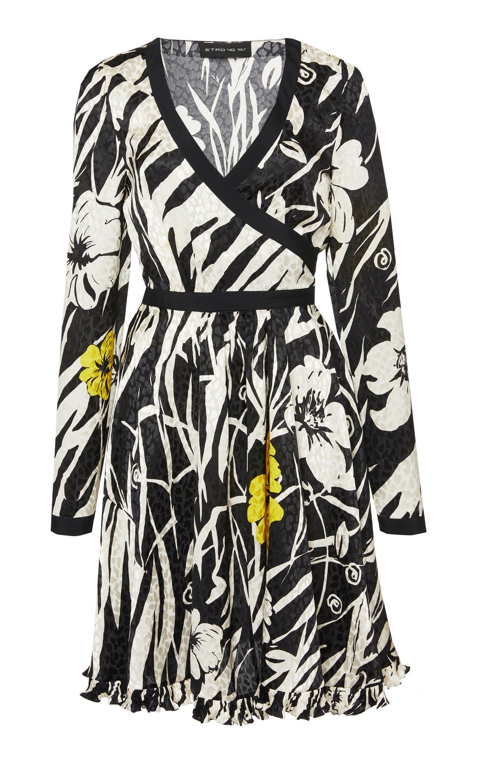 Etro Zebra-Print Hammered Silk Wrap Dress