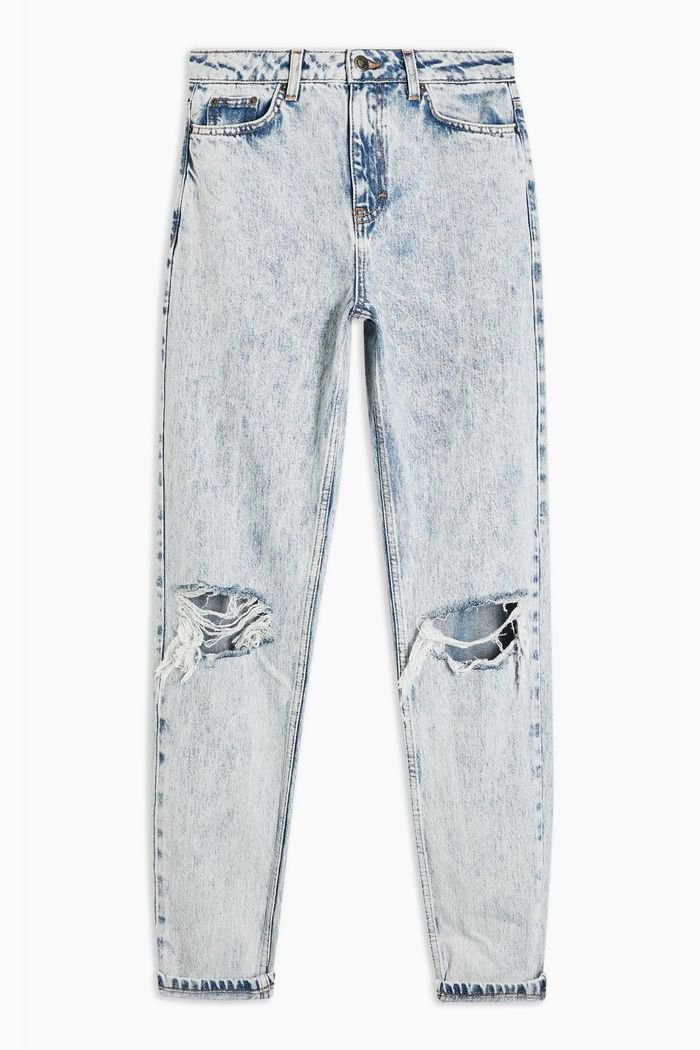 Bleach Acid Double Rip Mom Jeans | Topshop