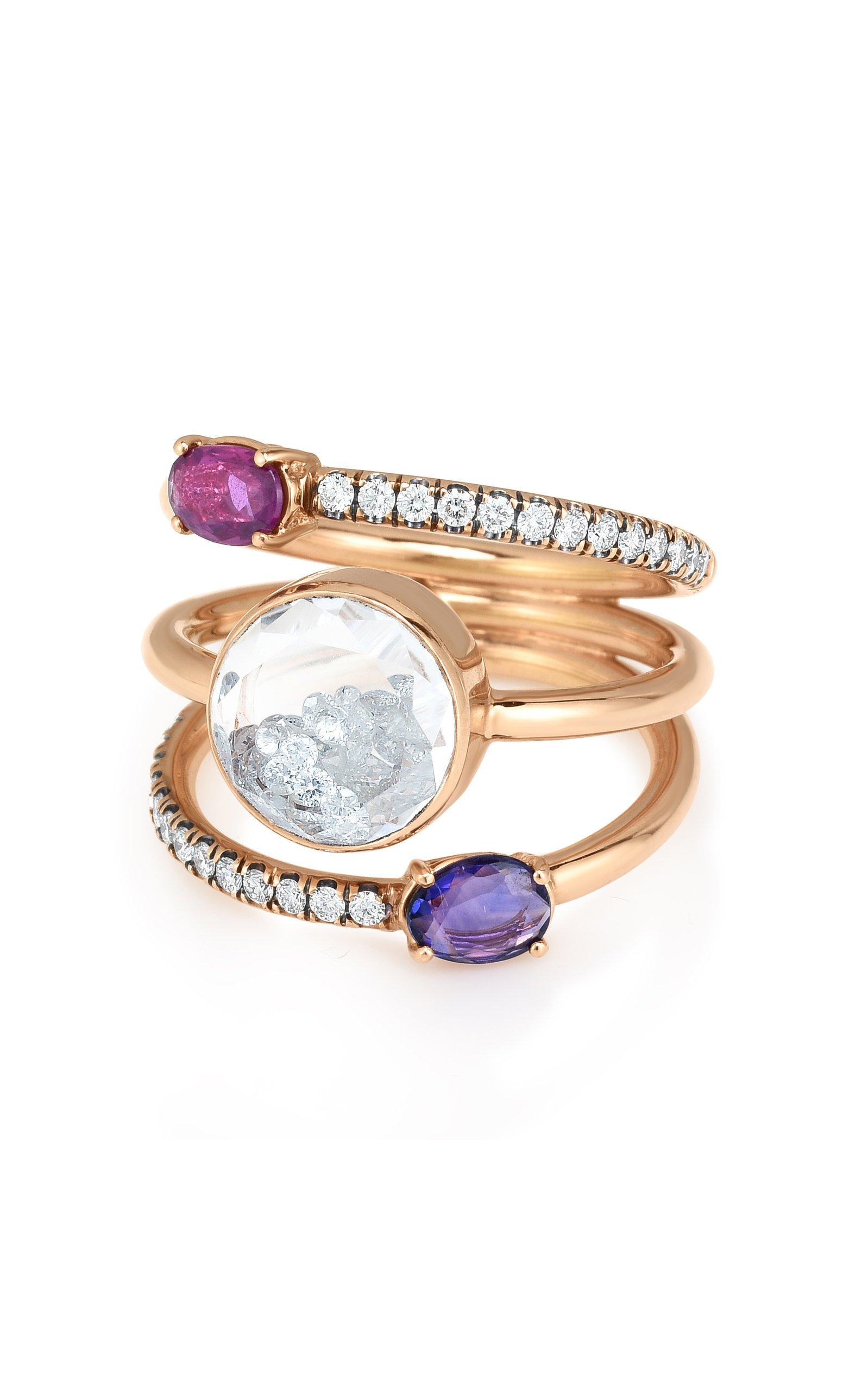 Moritz Glik Diamond Sapphire And Ruby Kaleidoscope Shaker Ring