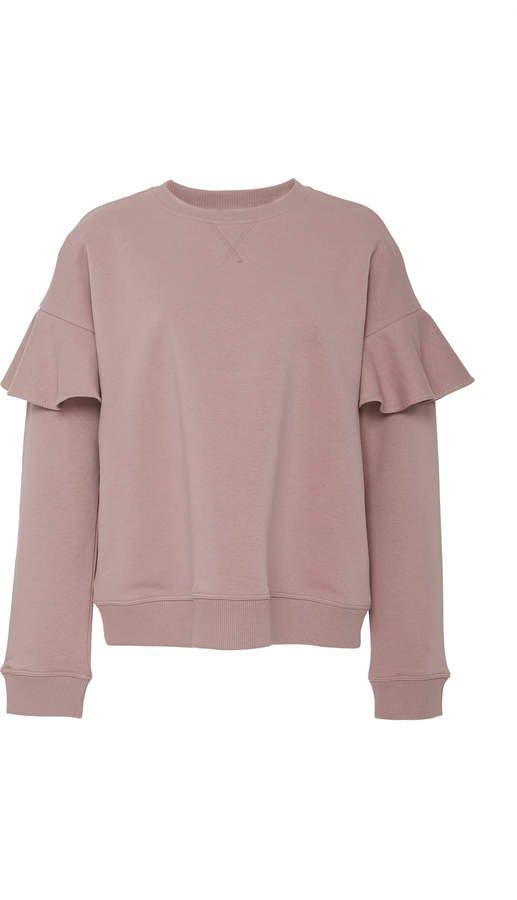 Ruffled Cotton-Blend Sweatshirt