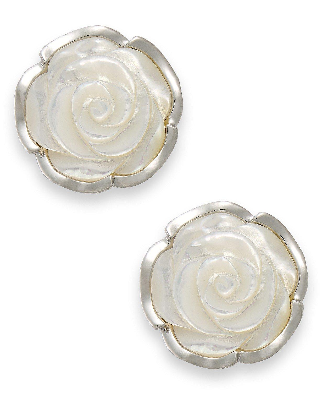 Macy's Sterling Silver Mother of Pearl Flower Earrings