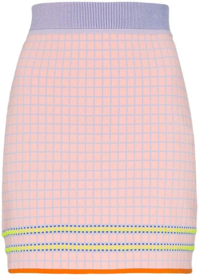 I-Am-Chen High-Waisted Checked Mini Skirt