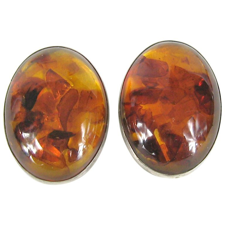 Massive Baltic Amber Sterling Silver Earrings For Sale at 1stdibs