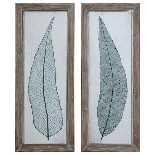 Aubriana Coastal Teal Botanical Leaf Distressed Print - Set of 2