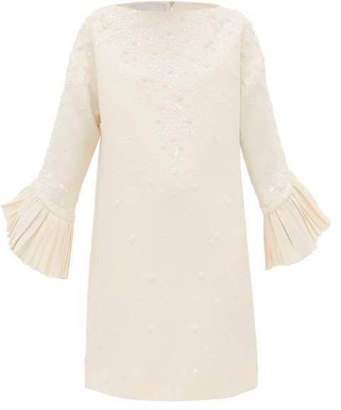 Floral Bead Embellished Crepe Couture Shift Dress - Womens - Ivory