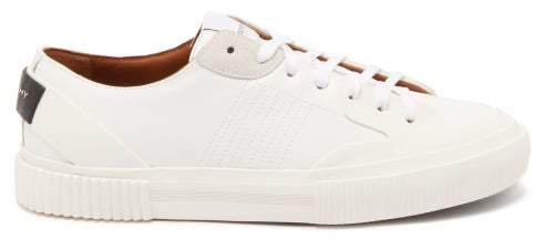 Corrugated Sole Leather Low Top Trainers - Womens - White