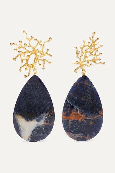 Pacharee | + Pach Tach gold-plated sodalite earrings | NET-A-PORTER.COM