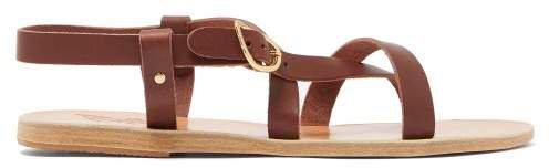 Ambrosia Leather Sandals - Womens - Dark Brown