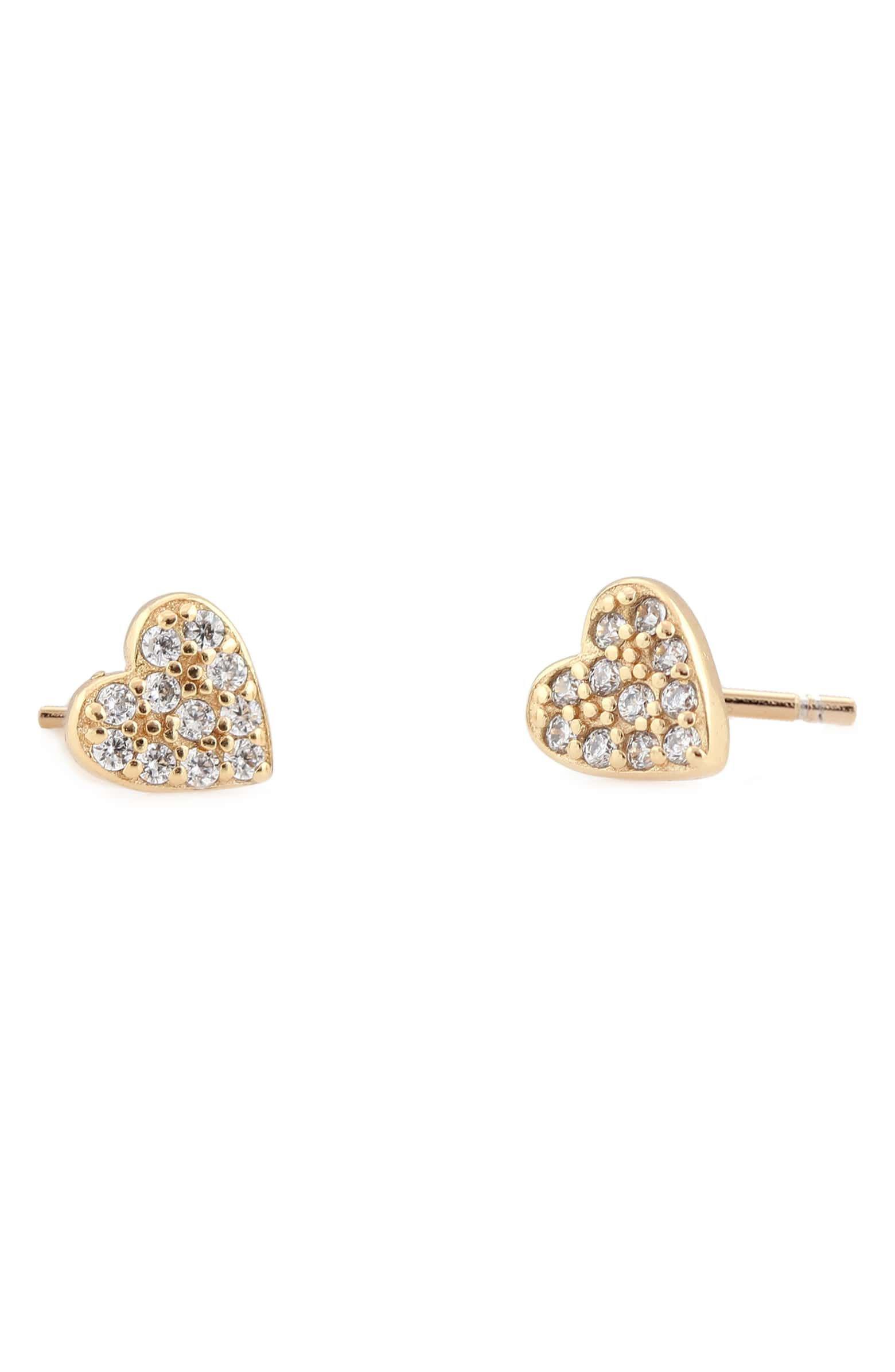 Kris Nations Pavé Heart Stud Earrings | Nordstrom