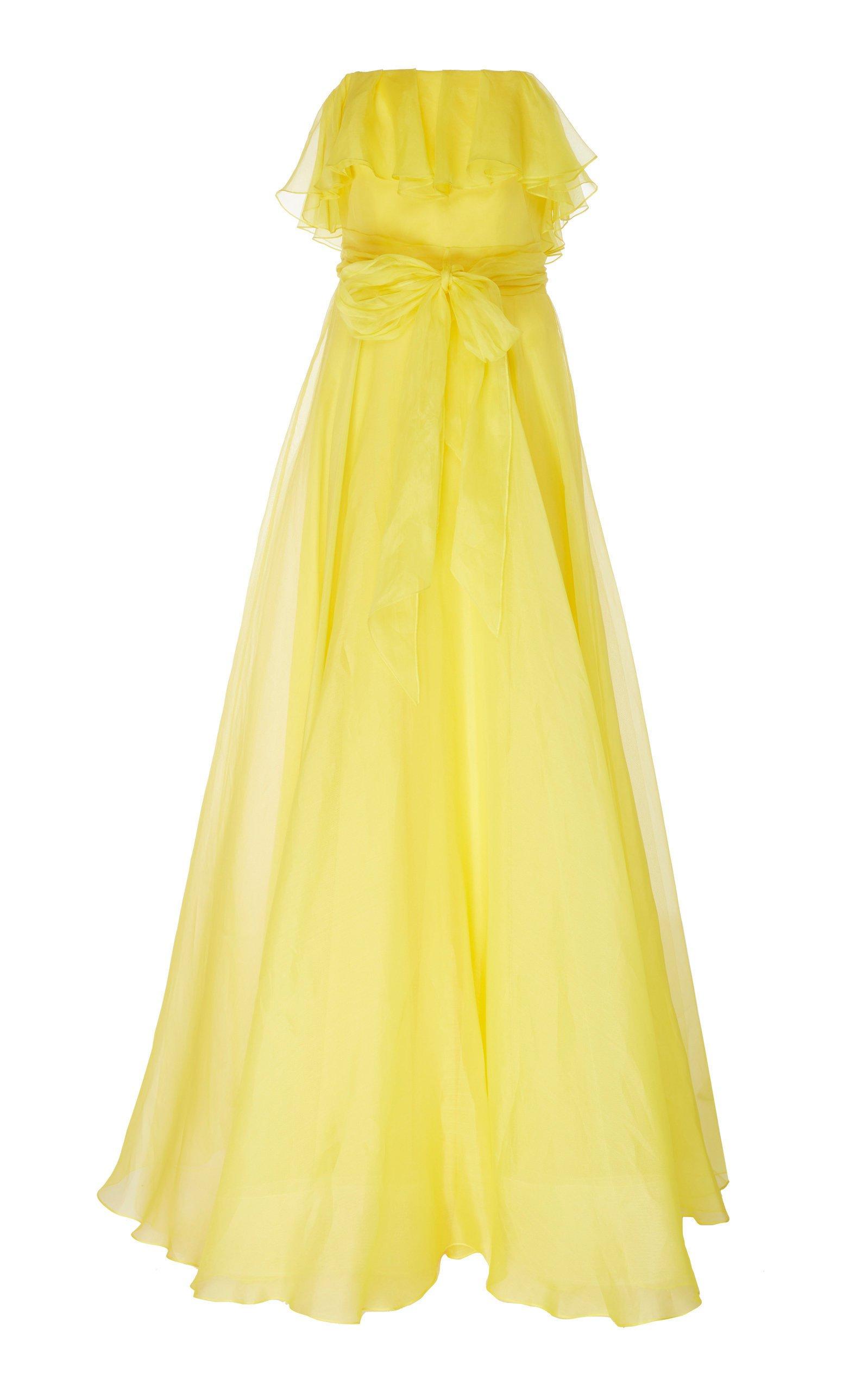Jenny Packham Isla Ruffled Organza Strapless Gown
