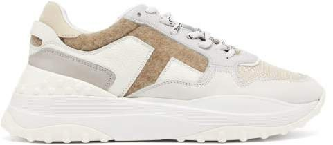 Pebbled Leather And Felt Trainers - Womens - White Multi