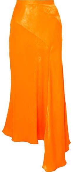 Asymmetric Hammered-satin Skirt - Orange