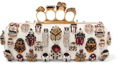 Knuckle Embellished Leather Clutch - White